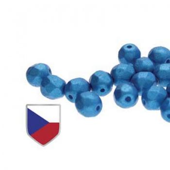 Fire Polish Pearl Shine Azuro Czech Shield 4mm