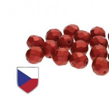 Fire Polish Chalk Lava Red Czech Shield 4mm