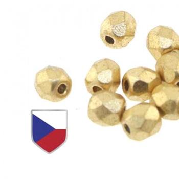 Fire Polish Crystal Bronze Pale Gold Czech Shild 4mm