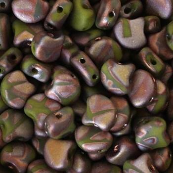 Perline Ginko Beads Opaque Green Full Capri Gold Matte Batik 7,5X7,5mm