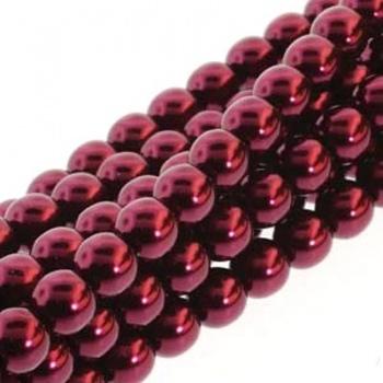 Perla Cerata Vetro Tondo Liscia Burgundy 6mm (75pz)
