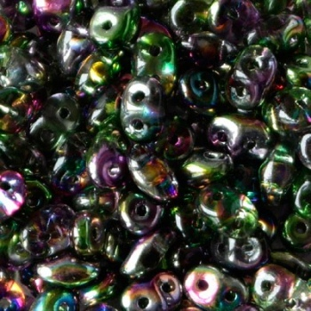 Perline Superduo 2.5x5mm Crystal Magic Violet Green