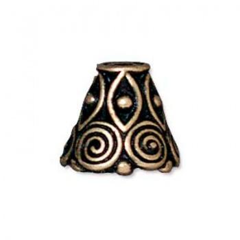 Cono Decorato Spirale Ottone Anticato 9,5mm